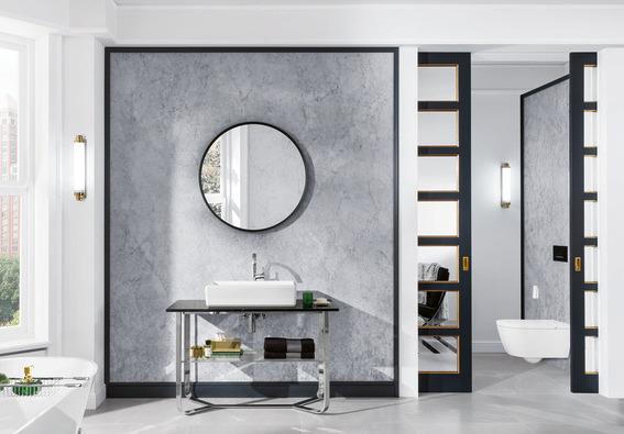 Badkamertrend: ronde spiegel van Villeroy Boch #badkamertrends #badkamer