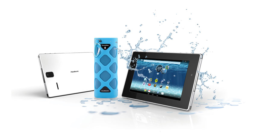 Waterdichte tablet voor de badkamer van Aquasound