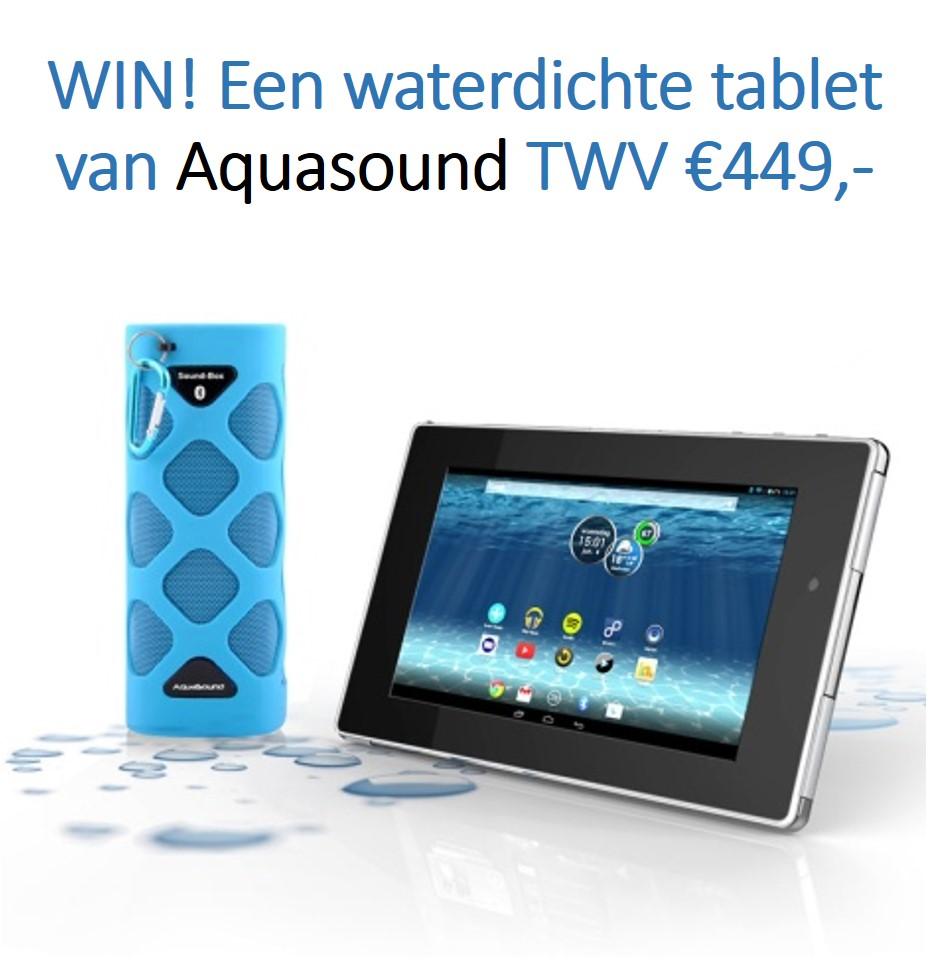Winnen bij uw-badkamer.nl. Win een waterdichte tablet met waterdichte Soundbox van Aquasound. Klik op de foto en doe mee!