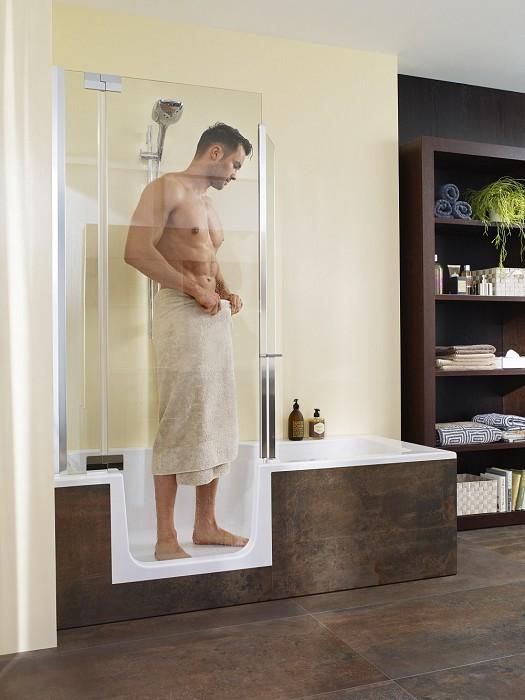 de oplossing voor een kleine badkamer. Bespaar ruimte met de Roomsaver van Burgmans Sanitair. Bad en douche ineen. #badkamer
