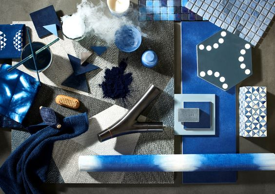 Kleuren en materialen trends voor de badkamer - Indigo Lines via Cleopatra