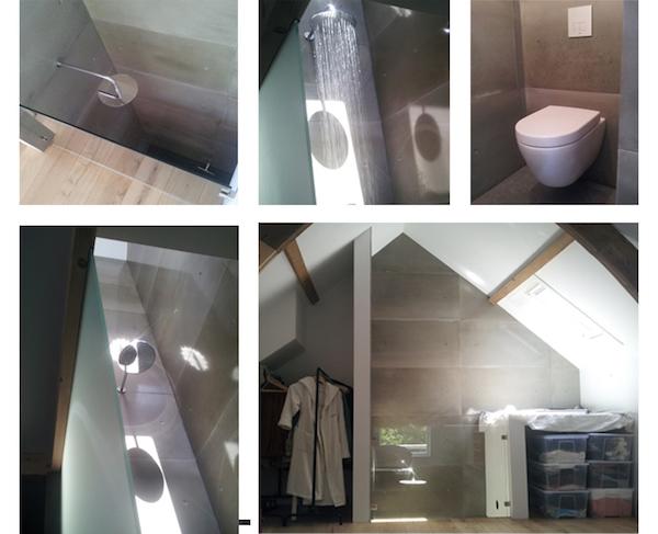 Wandpanelen met betonlook in de badkamer. ConcreetDesign