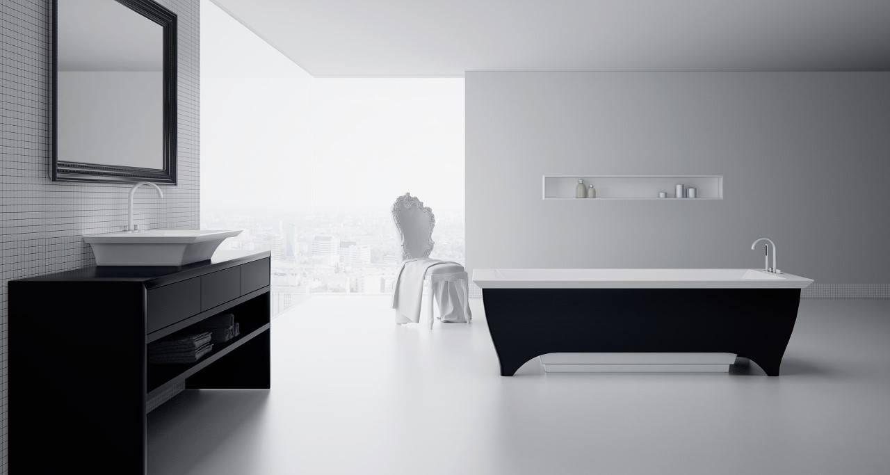 Vrijstaand bad met bijpassende wastafel van Solid Surface - bad Hidde van CrossTone