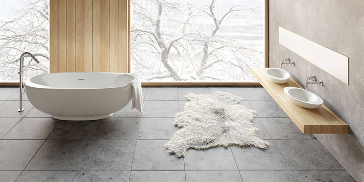 Vrijstaand bad met bijpassende wastafel van Solid Surface via Cross Tone