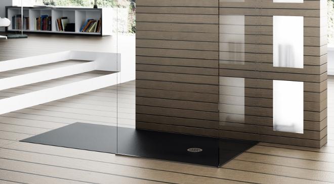 Vlakke douchevloer van solid surface - Hidrobox via dekker Zevenhuizen #badkamer