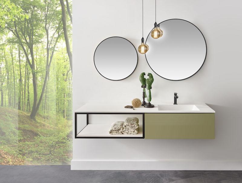 Detremmerie badkamer collectie 2018 met led verlichte spiegels, hippe industriele badkamerverlichting en open frames #badkamer #accessoires #badkamermeubel #detremmerie