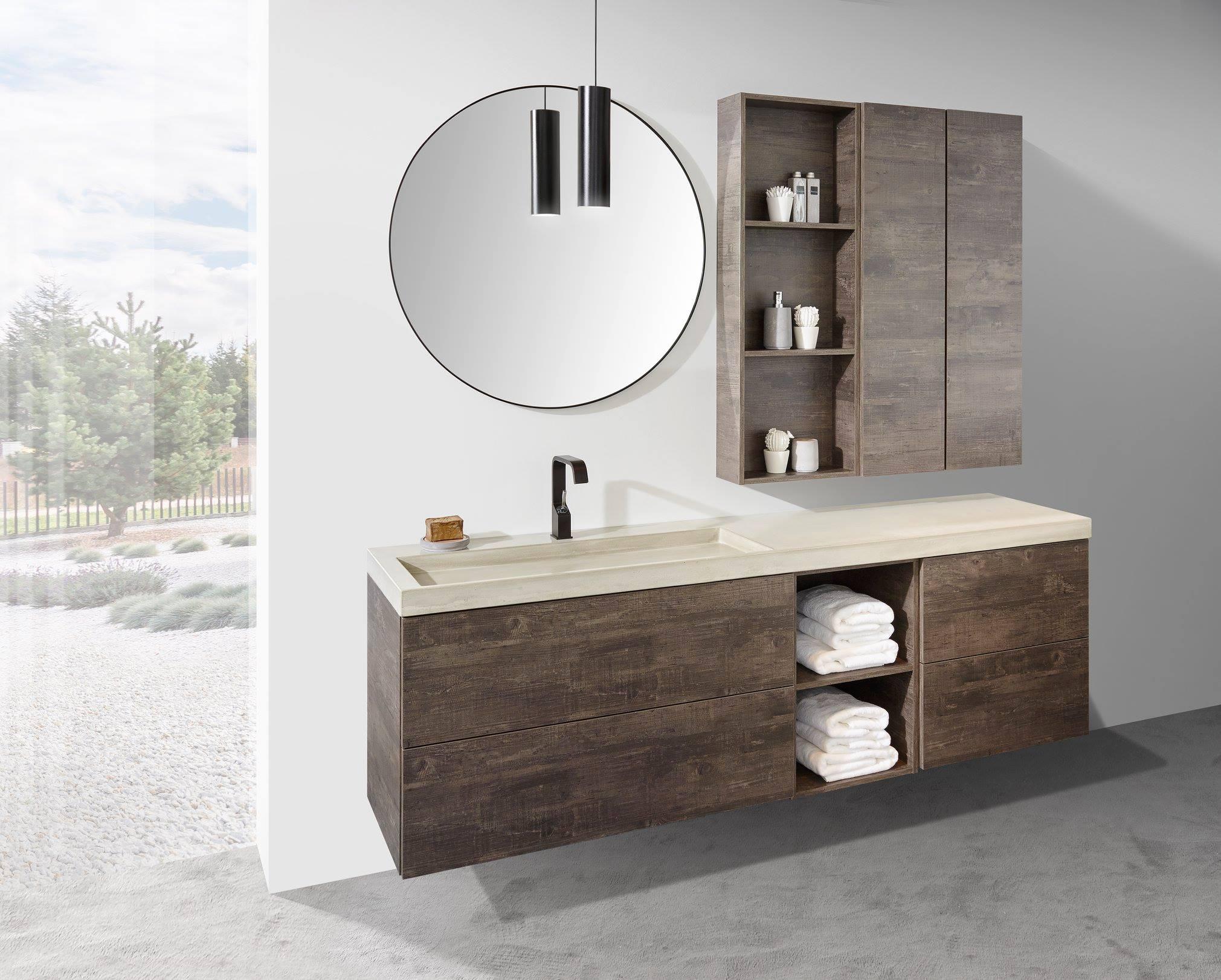 Badkamerinspiratie. Badkamermeubel volgens de laatste badkamertrends. Wastafelblad van beton en badkamermeubel van Detremmerie #detremmerie #badkamer #badkamertrends #badkamerinspiratie