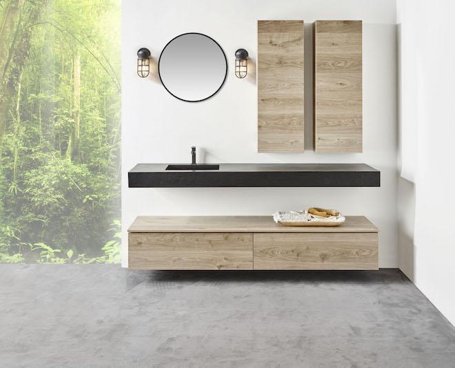 Badkamermeubel Detremmerie met industriele lampen en spiegel met led verlichting #badkamer #detremmerie #badkamermeubel #badkamerverlichting #badkamertrend #badkamerinspiratie