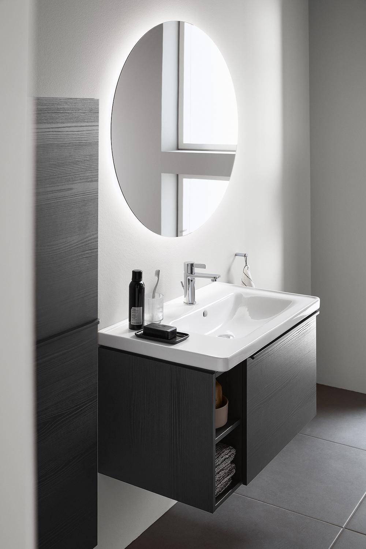 Duravit Neo-D badkamerserie compleet met wastafels, badkamermeubels met open vakken, spiegels met led-verlichting #duravit #neoD #badkamerserie #badkamermeubels #spiegels #wastafels #badkamer #badkameridee #inspiratie #verbouwen