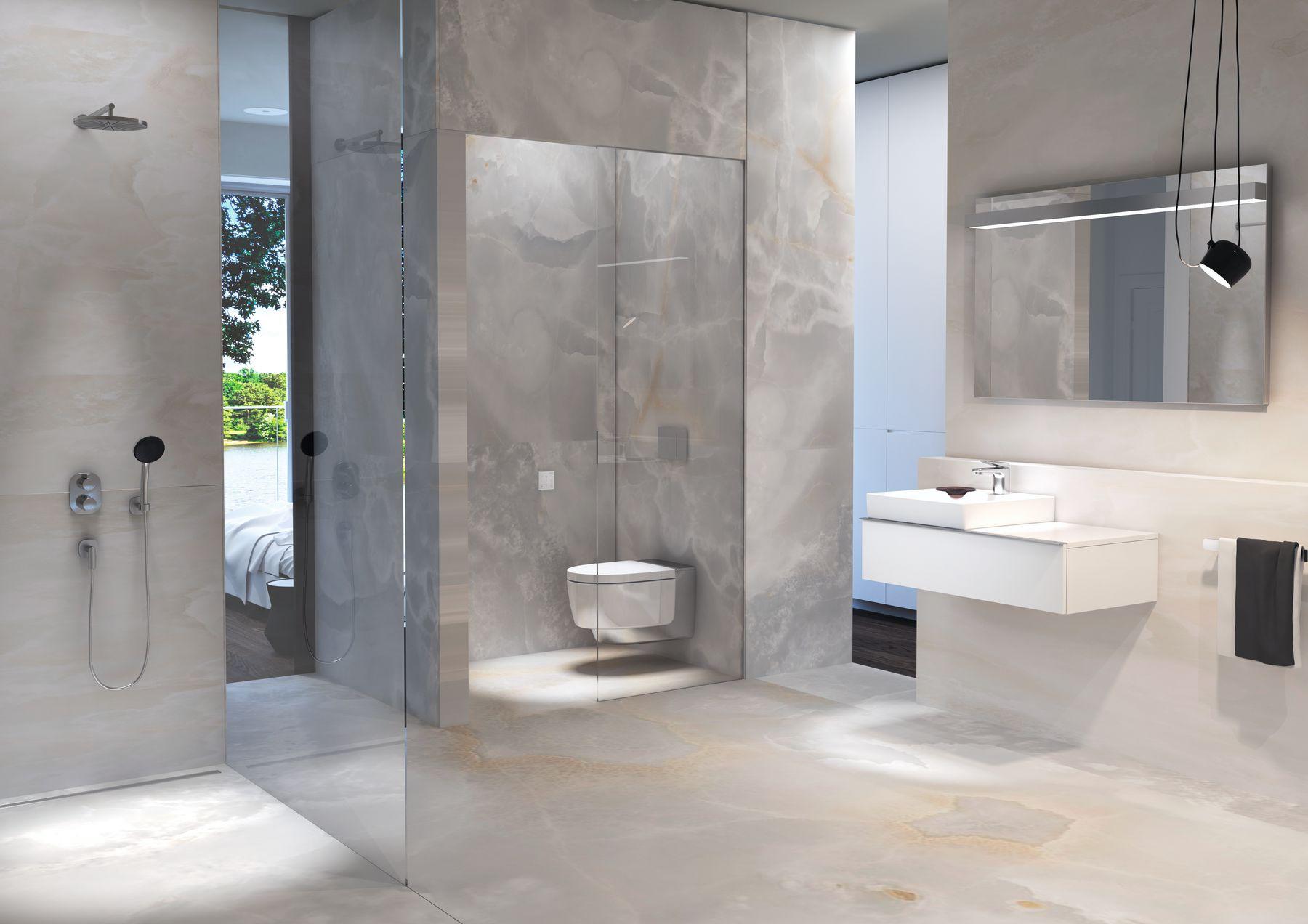 Badkamer met toilet met douchewc - Geberit Aquaclean Mera douchewc #toilet #badkamer #geberit