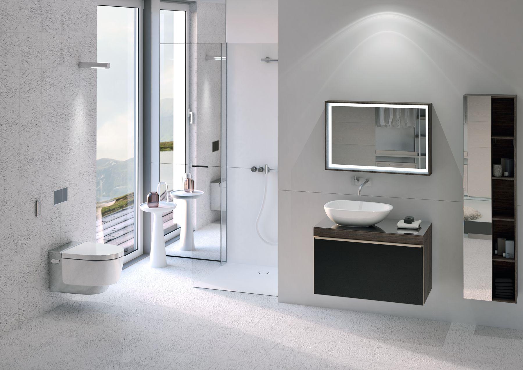 Badkamer met toilet Aquaclean Mera Classic douchewc met een uiterst effectieve, geluidsarme luchtzuivering, een intelligente warmeluchtföhn en een gebruiksvriendelijke afstandsbediening, waarmee je de verschillende functies intuïtief en naar eigen voorkeur kunt bedienen.