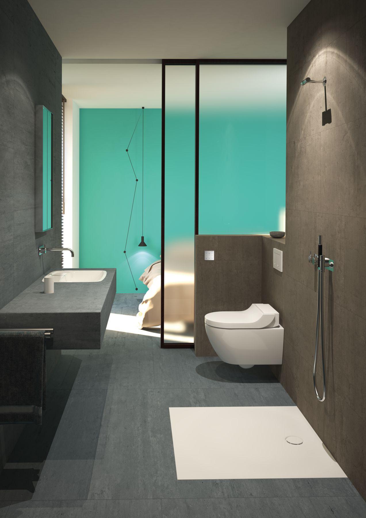 Badkamer met inloopdouche met de nieuwe douchevloer Setaplano van Geberit #douche #badkamer