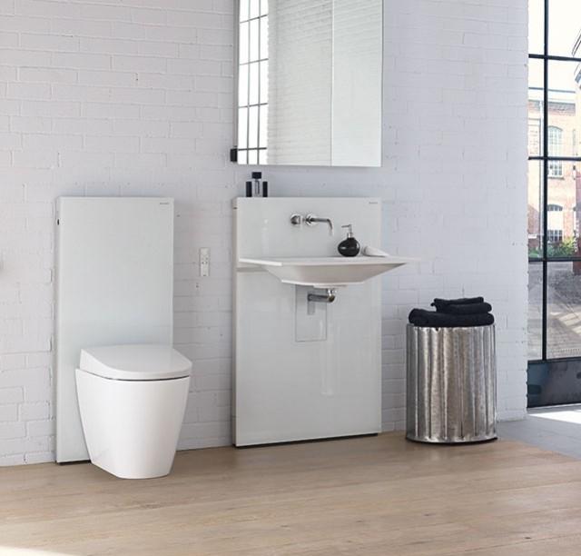 Badkamer met Geberit Monolith wc en wastafel element