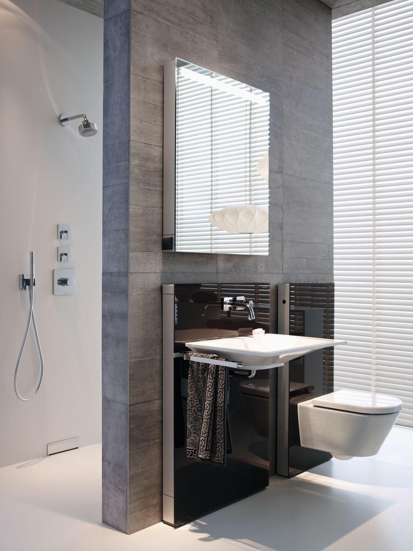 Stijlvolle badkamer met designmodule voor wastafel ...