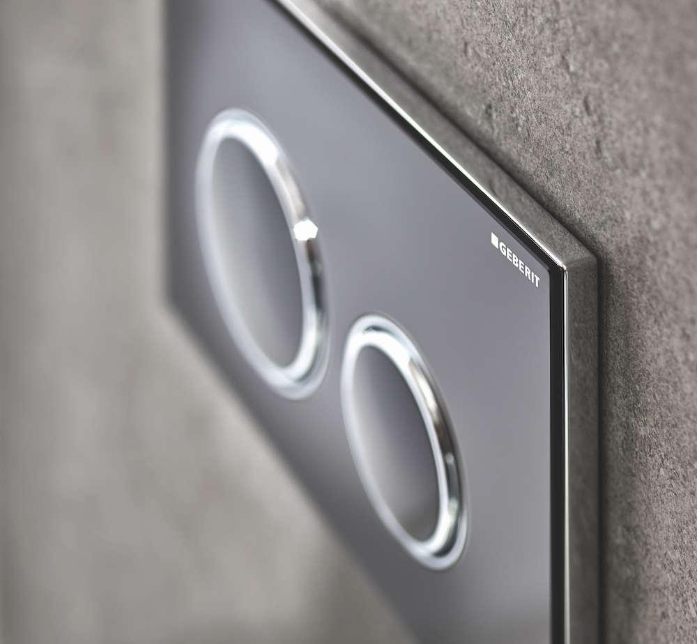 Nieuwe bedieningsplaat Geberit Sigma21 met ronde spoelknoppen zwart glas #geberit #toilet #bedieningsplaat #sigma21