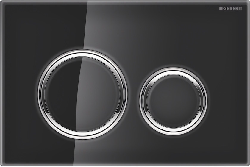 Nieuwe bedieningsplaat Geberit Sigma21 met ronde spoelknoppen met zwart glas #geberit #toilet #bedieningsplaat #sigma21 #glas