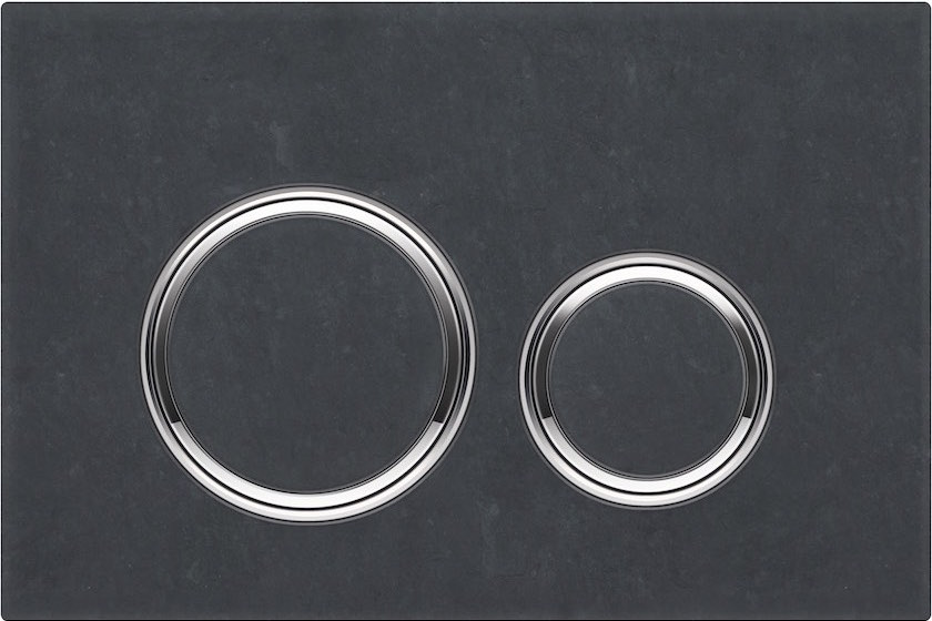 Nieuwe bedieningsplaat Geberit Sigma21 met ronde spoelknoppen met leisteen plaat Mustang #geberit #toilet #bedieningsplaat #sigma21 #leisteen