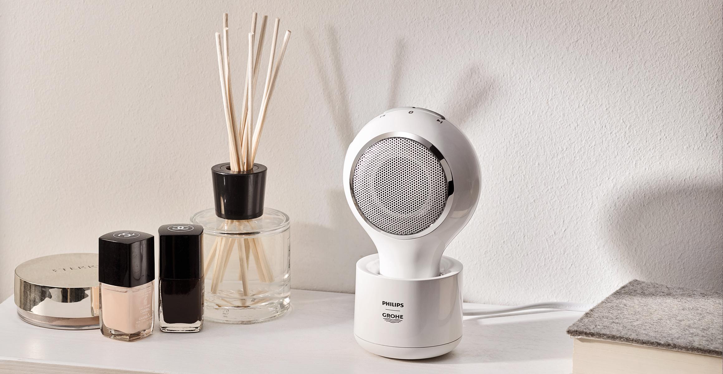 Waterdichte speaker voor de badkamer van Grohe en Philips #badkamer #muziek