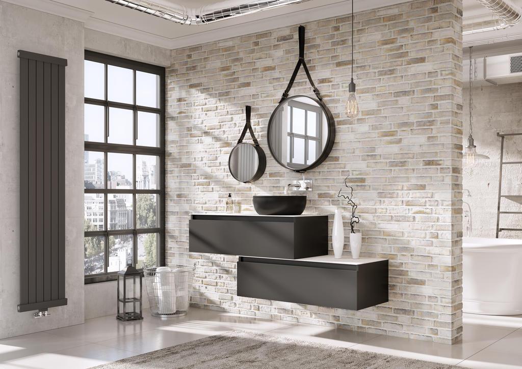Badkamermeubel Matrix greeploos mat zwart van H&R badmeubelen #badkamer #badmeubel #badkamermeubel #industrieel