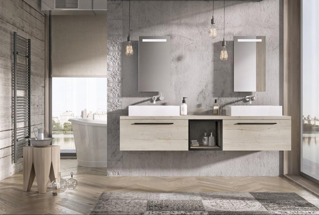 Badkamermeubel Matrix met zwart frame van H&R badmeubelen #badkamer #badmeubel #badkamermeubel #industrieel