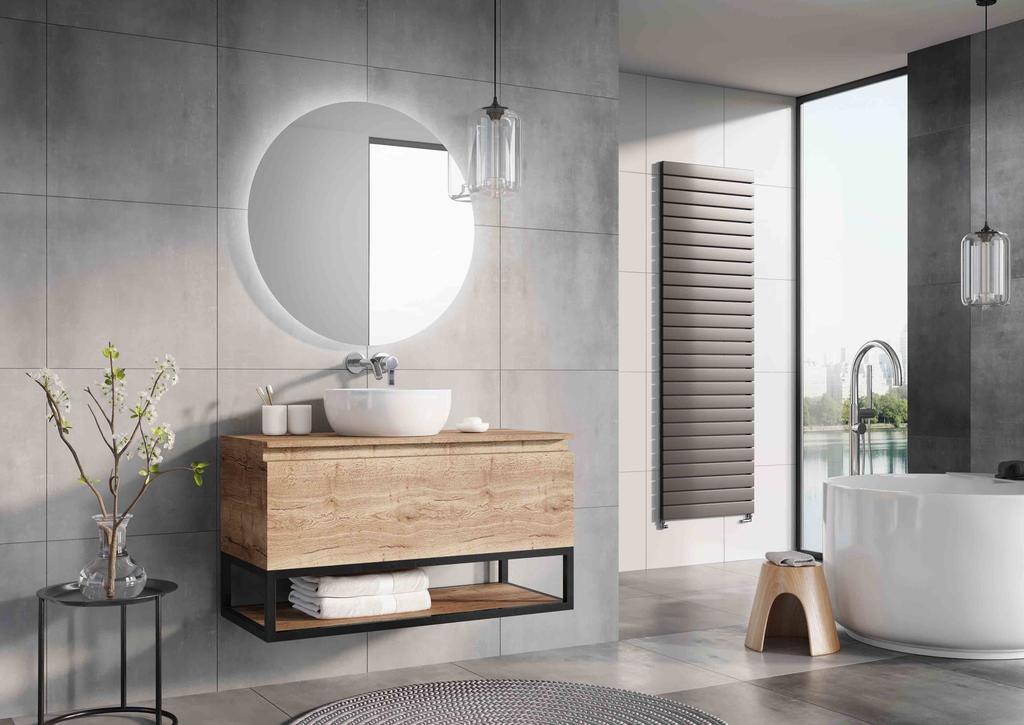 Houten badmeubel met industriële frames en een fraaie waskom. Badkamermeubel Matrix van H&R badmeubelen #badkamer #badkamerinspiratie #badkamermeubel #badmeubel #hrbadmeubelen