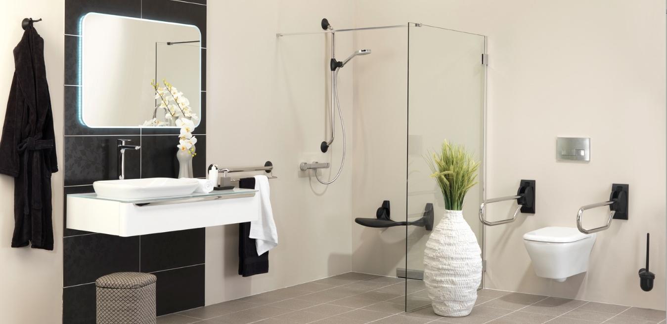 Badkamer Accessoires Beste Prijs : Badkamer grijs en hout. Badkamer ...