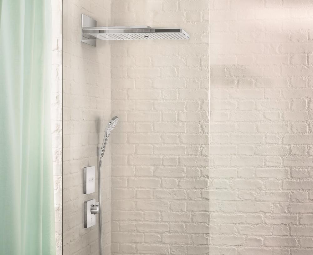 blikvanger douche rainmaker select met glasplaat nieuws. Black Bedroom Furniture Sets. Home Design Ideas