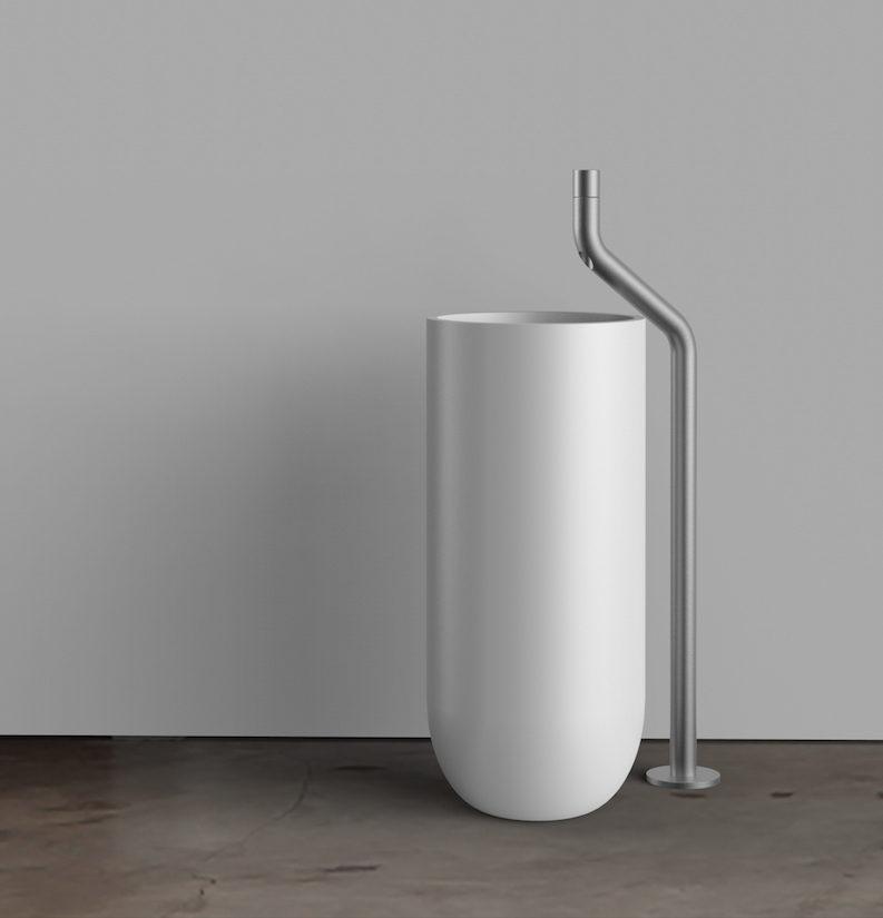 Nieuwe serie design kranen voor de badkamer van Jee-O - Kraan bij vrijstaande wastafel is uit de Flow series Dutch Design in samenwerking met Italiaanse designer Brian Sironi #wastafel #kraan #jeeo