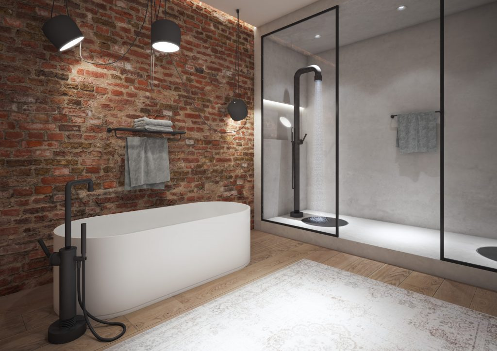 Badkamerinspirtie! Badkamer in New York met vrijstaande badvuler en vrijstaande douche uit de Soho series van Jee-O #dutchdesign #jeeo #badkamerinspiratie #bad #badkamer #douche #kranen #sohoseries