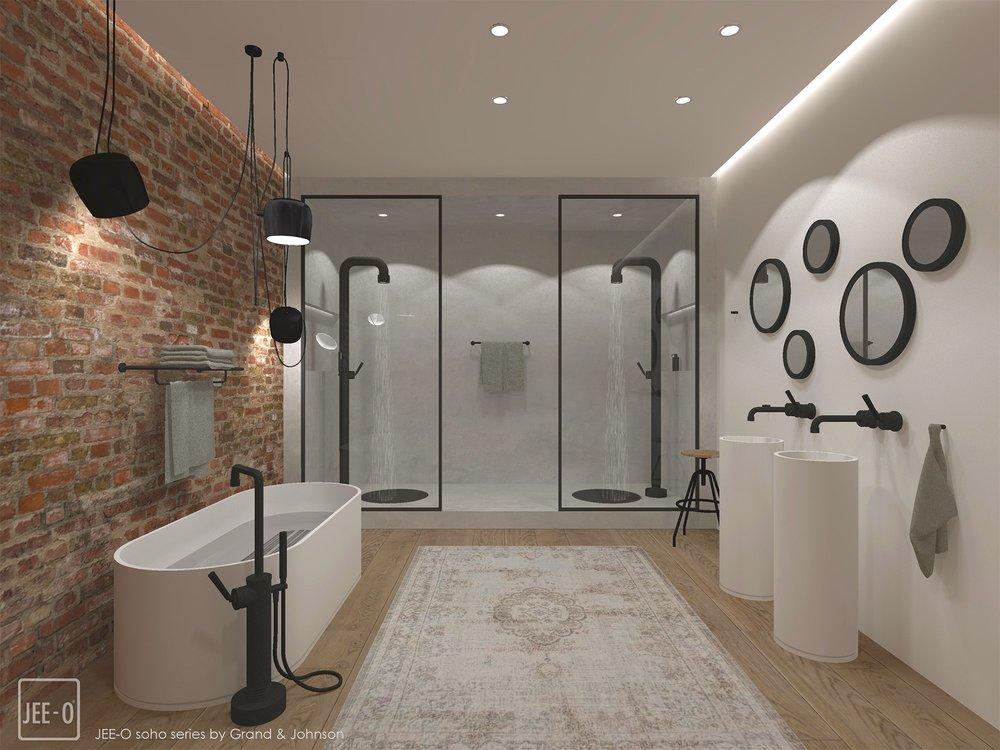 Badkamer met zwarte douches en kranen uit de Jee-O Soho collectie #douche #douches #doucheinspiratie #badkamerinspiratie