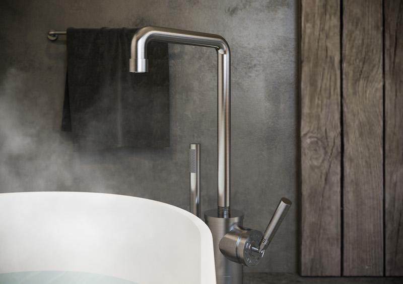 Badkamerinspiratie. Designkraan voor de badkamer soho RAW van JeeO #badkamerinspiratie #badkamer #designkranen #kranen #jeeo