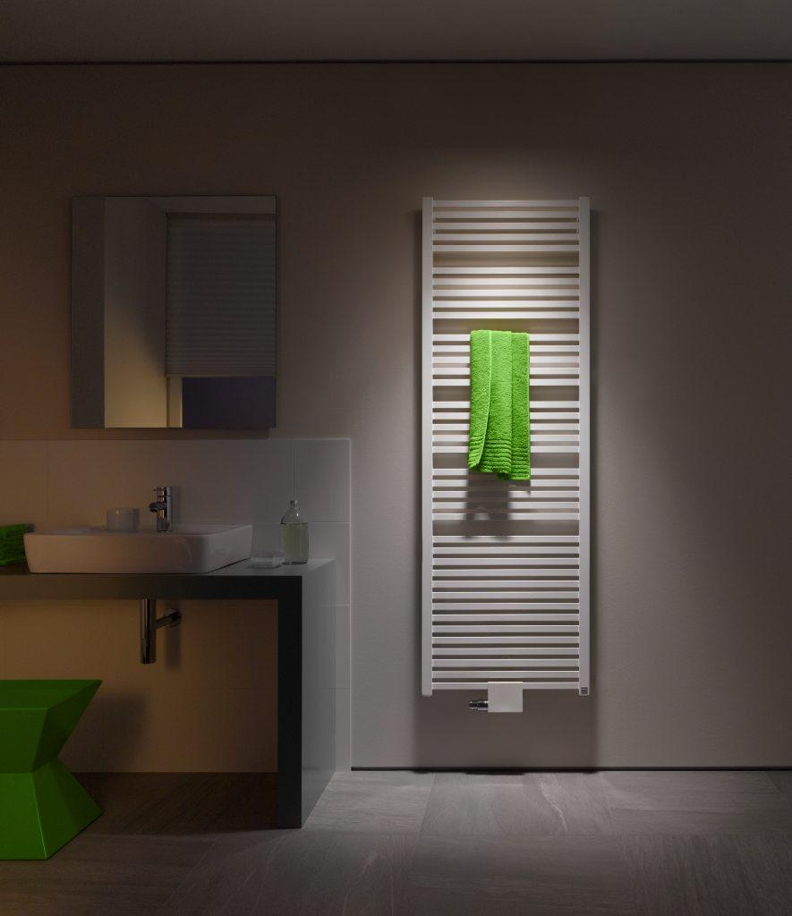 Designradiator voor de badkamer. Geneo Quadris van Kermi