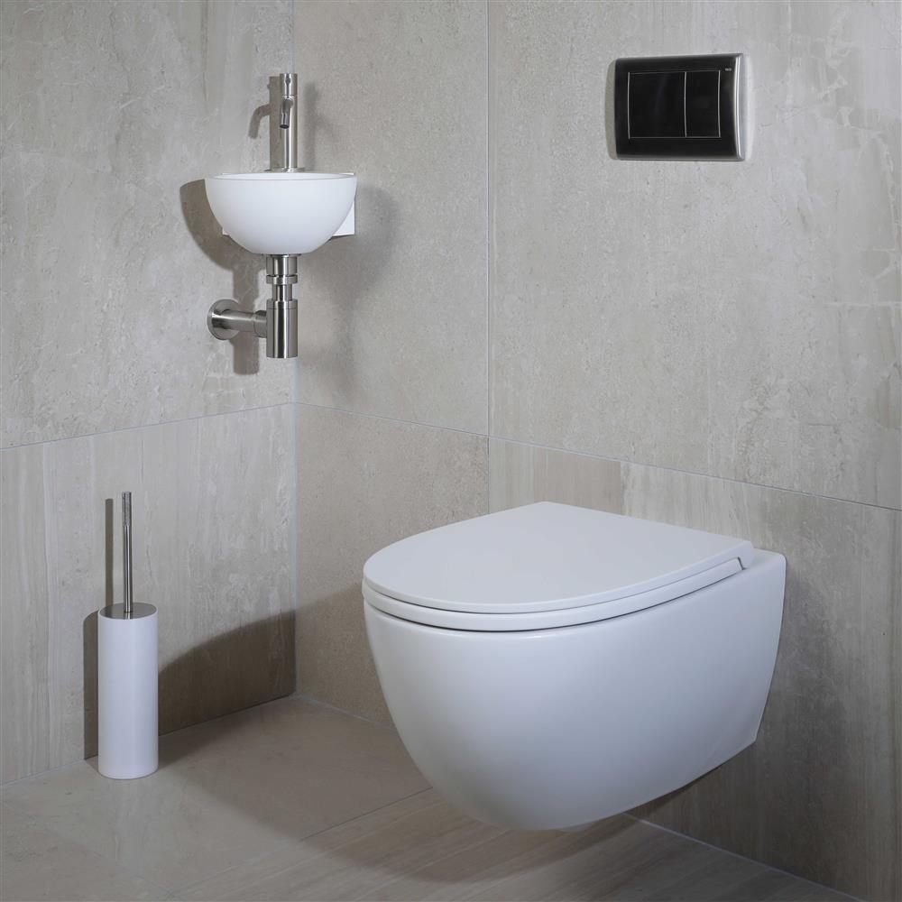 Kleine elegante wandcloset Globo van Luca Sanitair #toilet #madeinitaly #lucasanitair