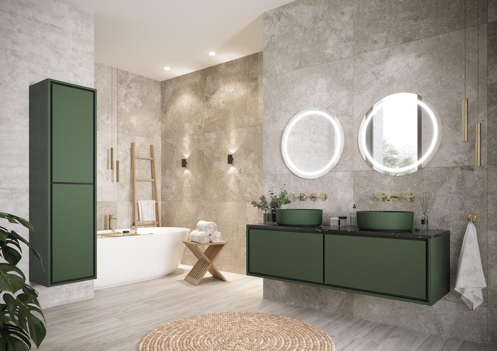 Spiegel voor de badkamer. Ronde spiegel Dune met spiegelverwarming via H&R Badmeubelen #spiegel #badkamer #badkamerspiegel #spiegelverwarming #ledverlichting #hrbadmeubelen