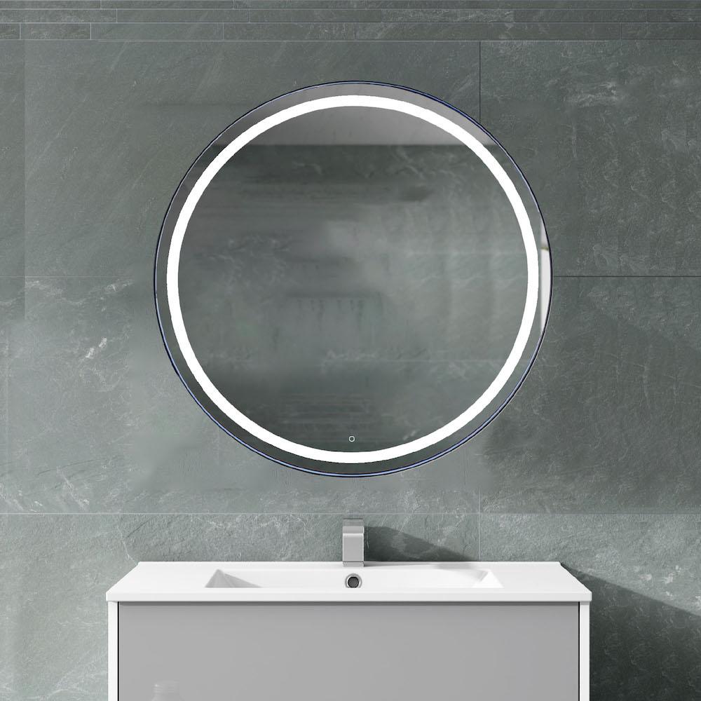 Ronde spiegel badkamer met touch sensor, spiegelverwarming en zwart frame #spiegel #badkamer #badkamerspiegel #spiegelverwarming #ledverlichting #hrbadmeubelen