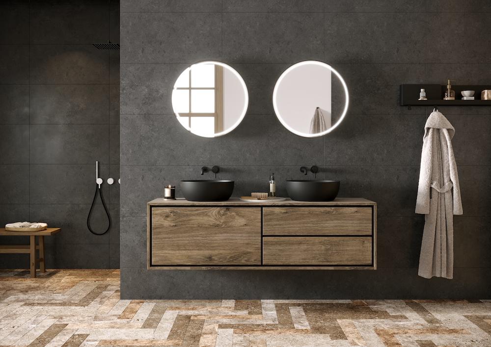 Ronde badkamerspiegel Flow met spiegelverwarming en touch sensor #spiegel #badkamer #badkamerspiegel #spiegelverwarming #ledverlichting #hrbadmeubelen