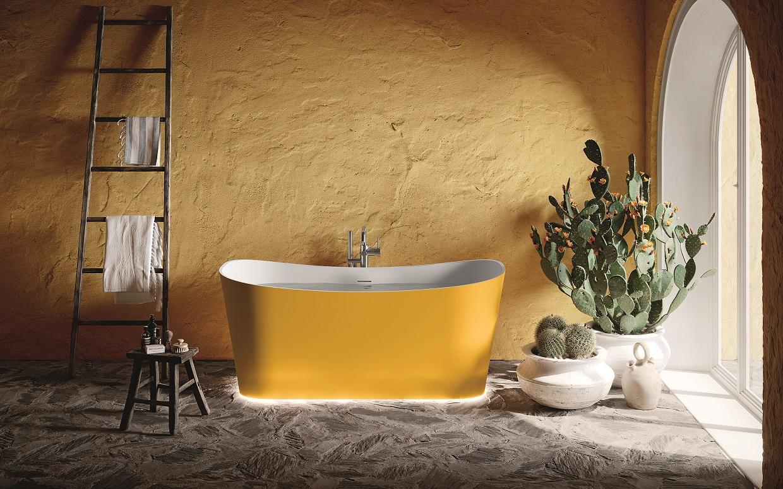 Vrijstaand ligbad SHIP van Novellini. Design zuurstofbad van solid surface #novellini #bad #baden #badkamer
