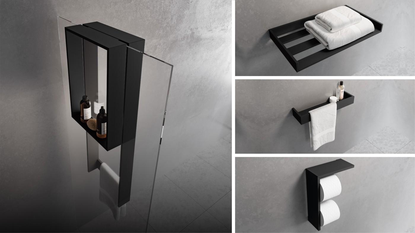 Novellini douche accessoires. Planchetten en ophangrekken Frame in zwart en wit #novellini #douche #accessoires #inloopdouche #planchet #doucherek #badkamer