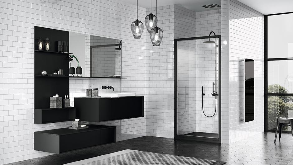 Badkamer Douchewand Glas : Zwart in de badkamer douchewanden met industriële look nieuws