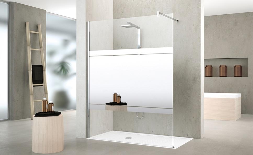 Douchewand Kuadra met spiegelwand voor de inloopdouche - Novellini #badkamer
