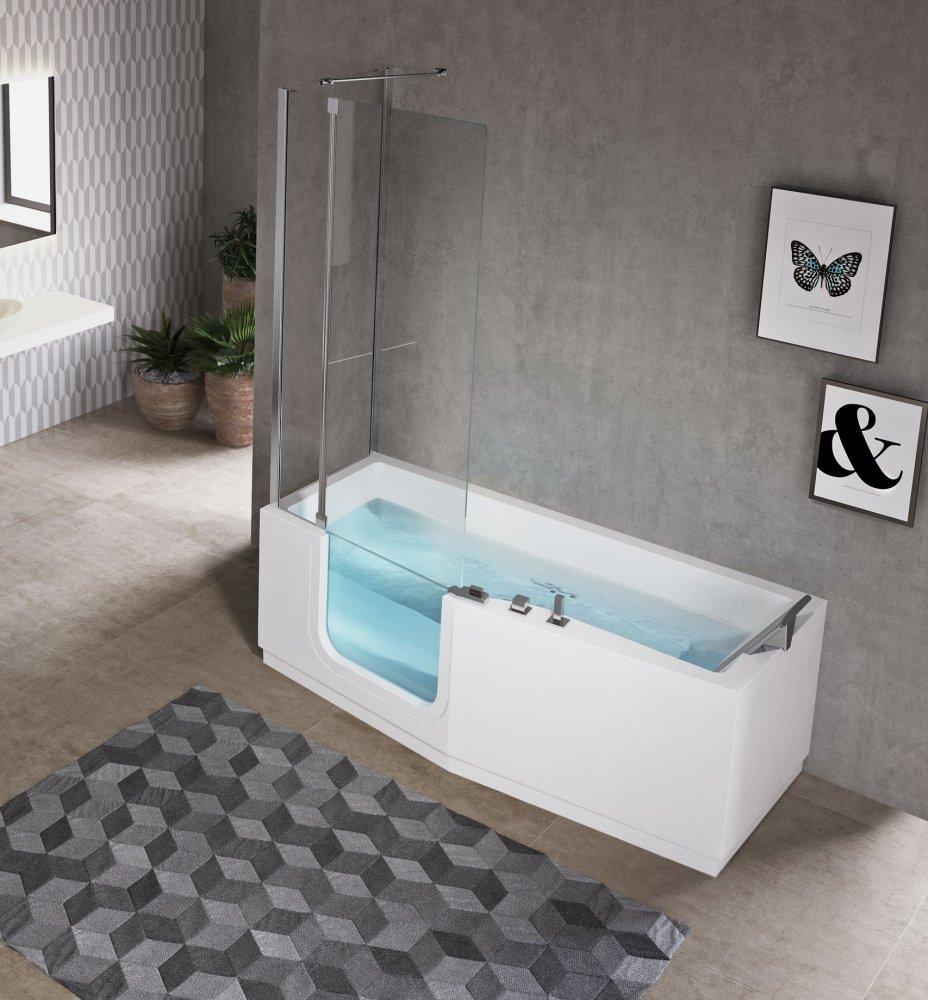 Instapbad en douche in een. Novellini bad Iris #bad #instapbad #novellini #aangepastsanitair