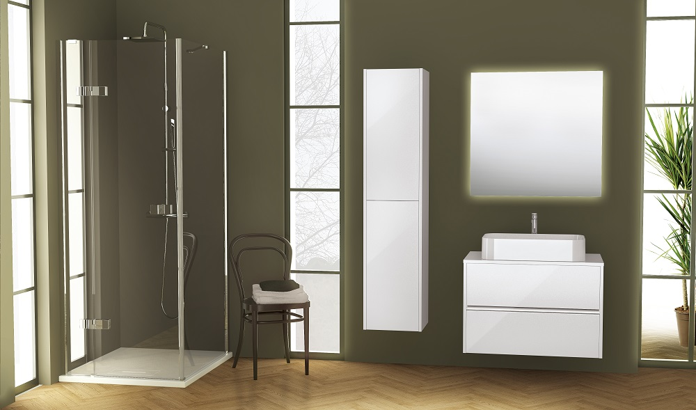 Novellini badkamermeubel Slot met hoge wandkast. Douchewanden van Novellini #badkamer #badkamerideeën