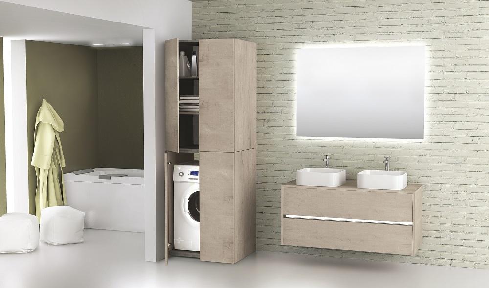 Novellini badkamermeubel Slot met bijpassende wasmachinekast Space met extra opbergruimte #badkamer #badkamerideeën