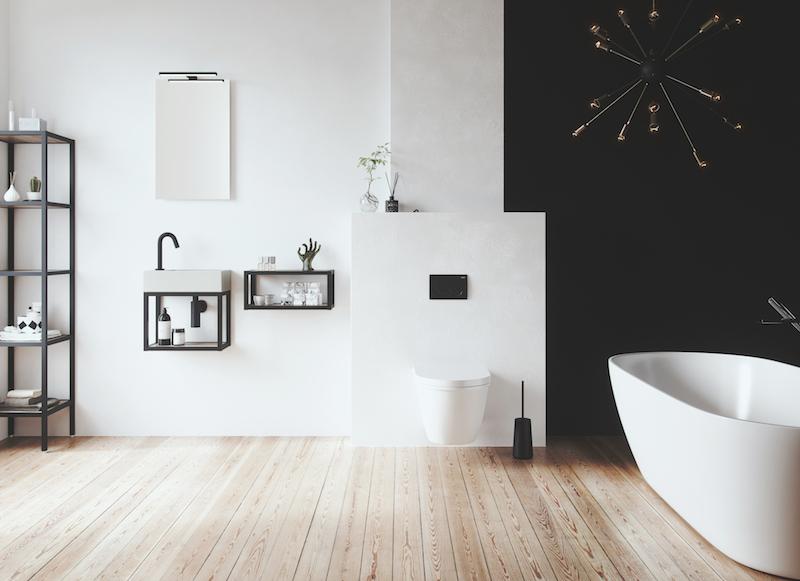 Badkamertrend: zwarte elementen in de badkamer. Badkamermeubel met frames via Primabad #badkamertrend #badkamer #badkamerinspiratie #zwart #primabad #badkamermeubel
