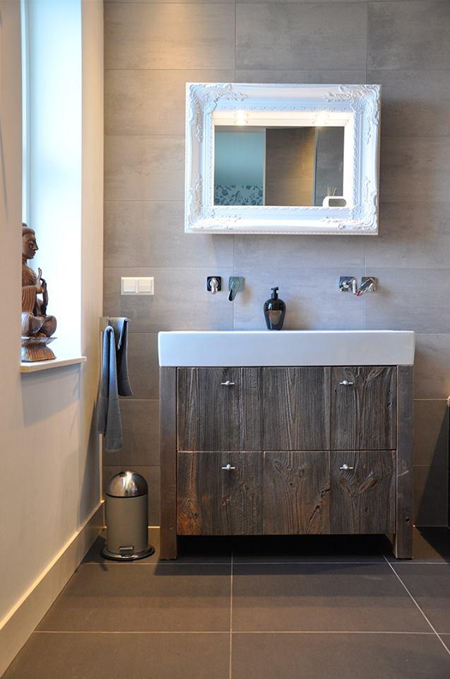 Houten badkamermeubel van barnwood via Restylexl