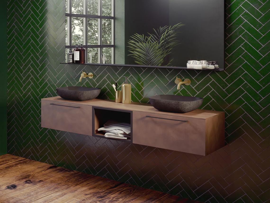 Stel zelf het badkamermeubel van je nieuwe badkamer samen met de collectie Livit by Riho #badkamermeubel #waskom #spiegels