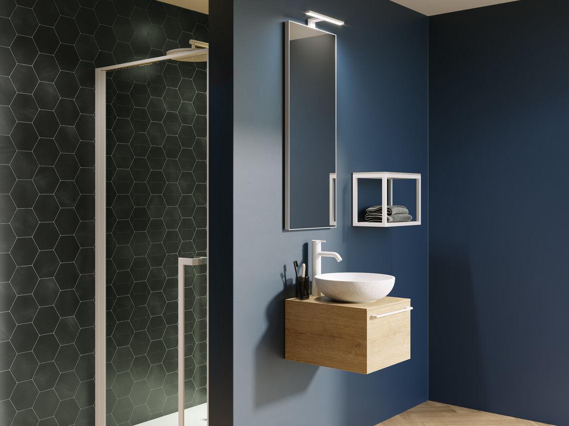Stel zelf het badkamermeubel van je nieuwe badkamer samen met de collectie Livit by Riho #badkamermeubel #waskom #spiegel