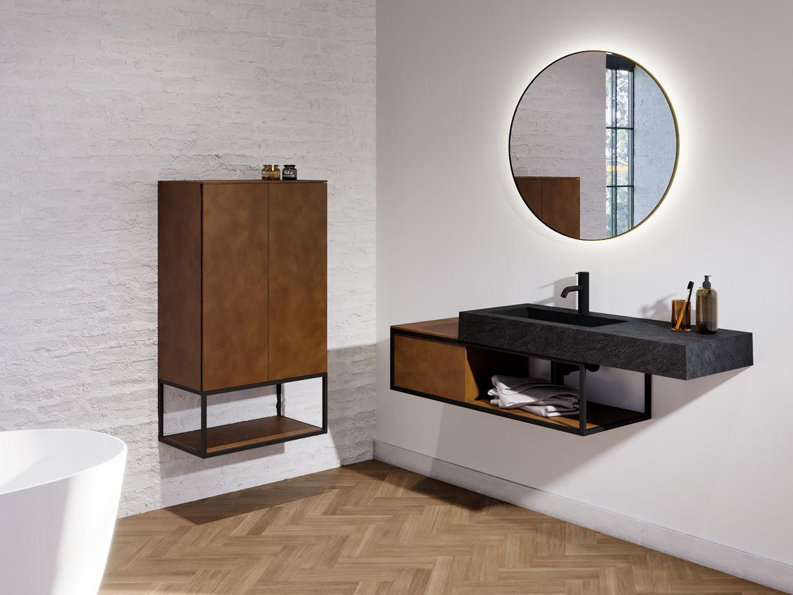 Stel zelf het badkamermeubel van je nieuwe badkamer samen met de collectie Livit by Riho #badkamermeubel #waskom #spiegel #badkamerkast