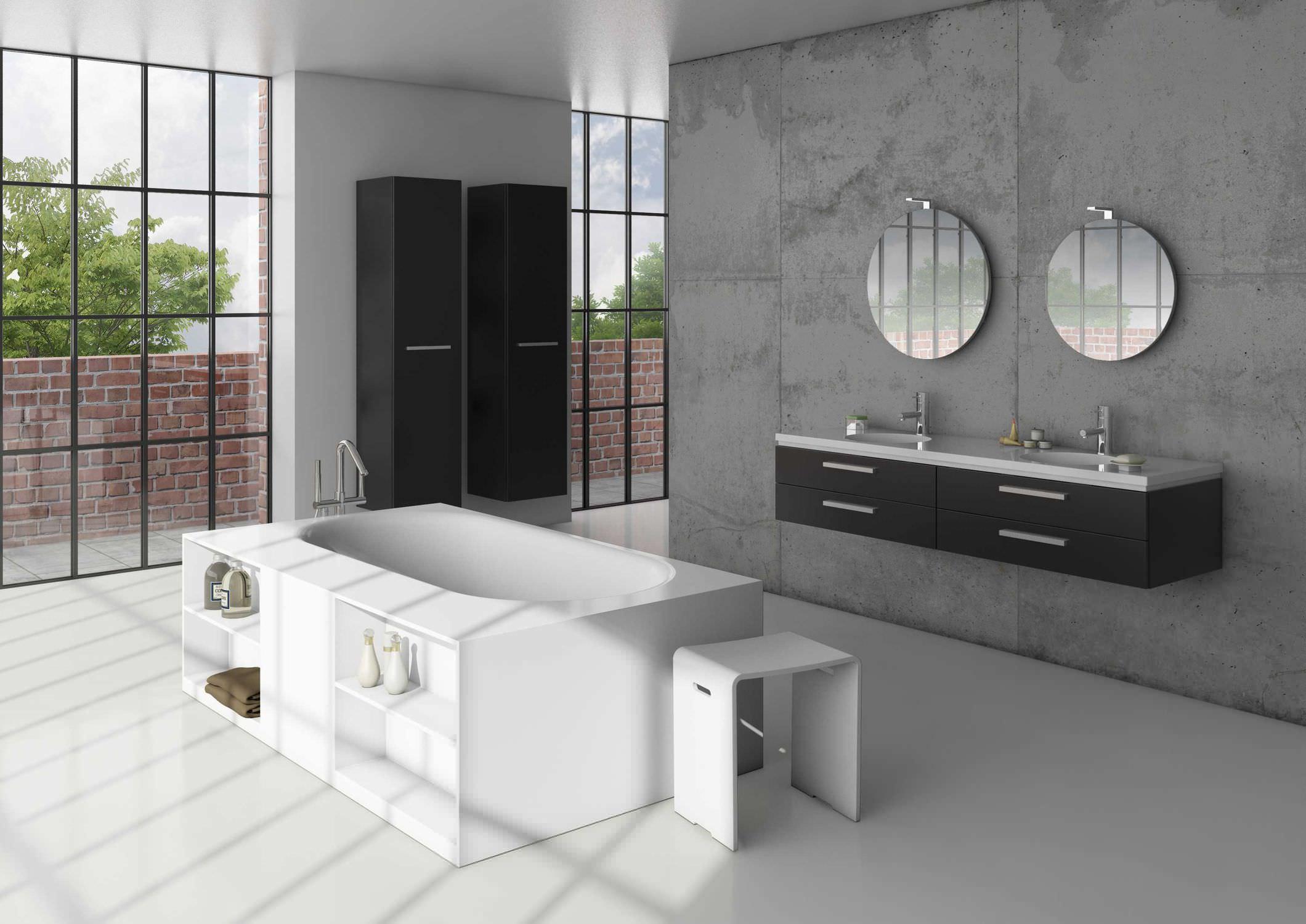 Vrijstaand bad van solid surface met opbergruimte - Riho Burgos