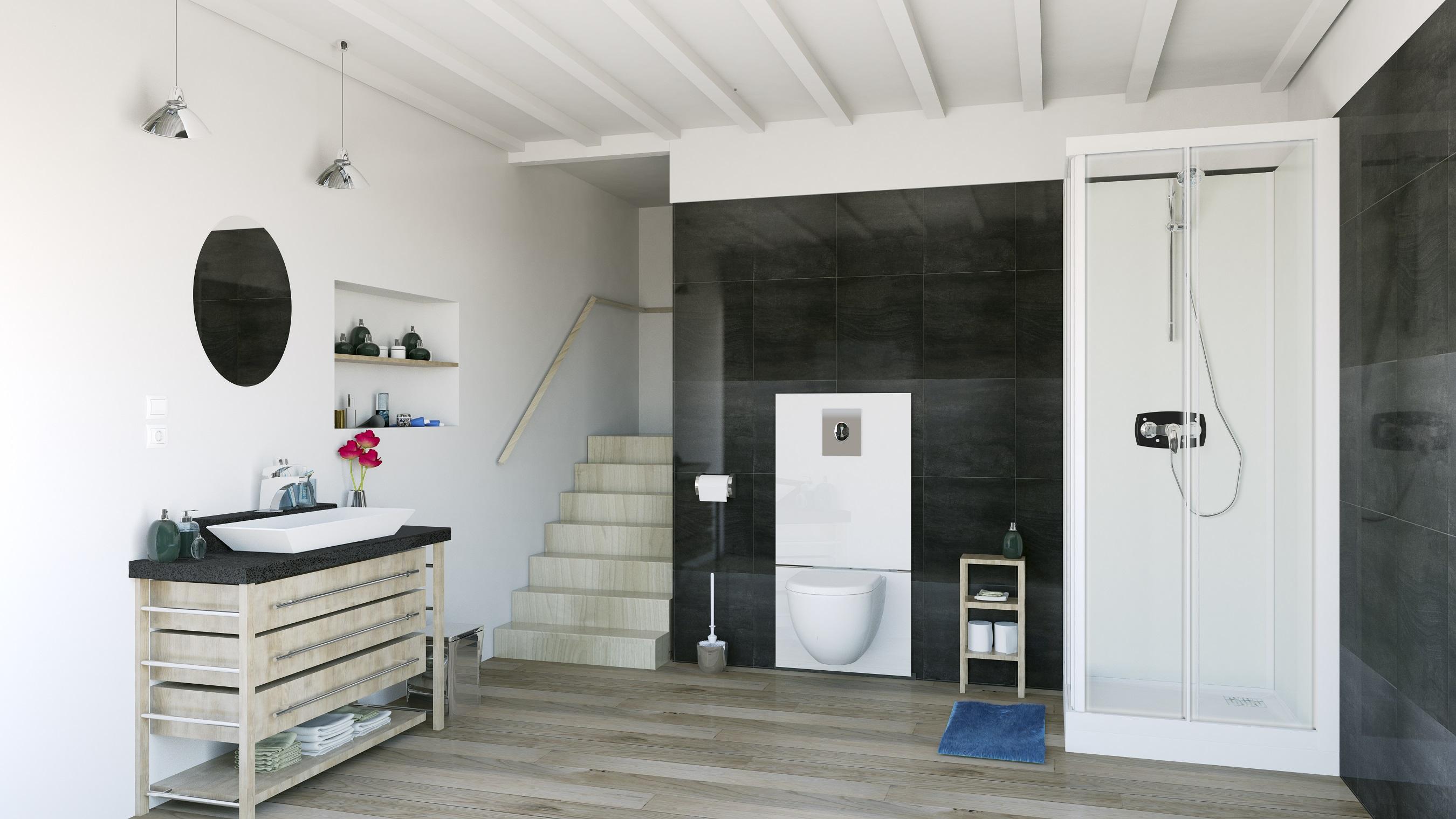 Nieuwe totaaloplossing voor het toilet in de badkamer: Saniwall PRO UP van Sanibroyeur en Grohe #badkamer